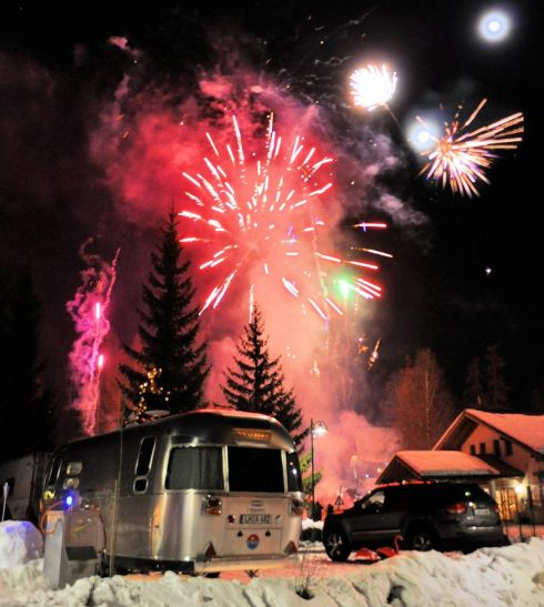 Airstream with Fireworks